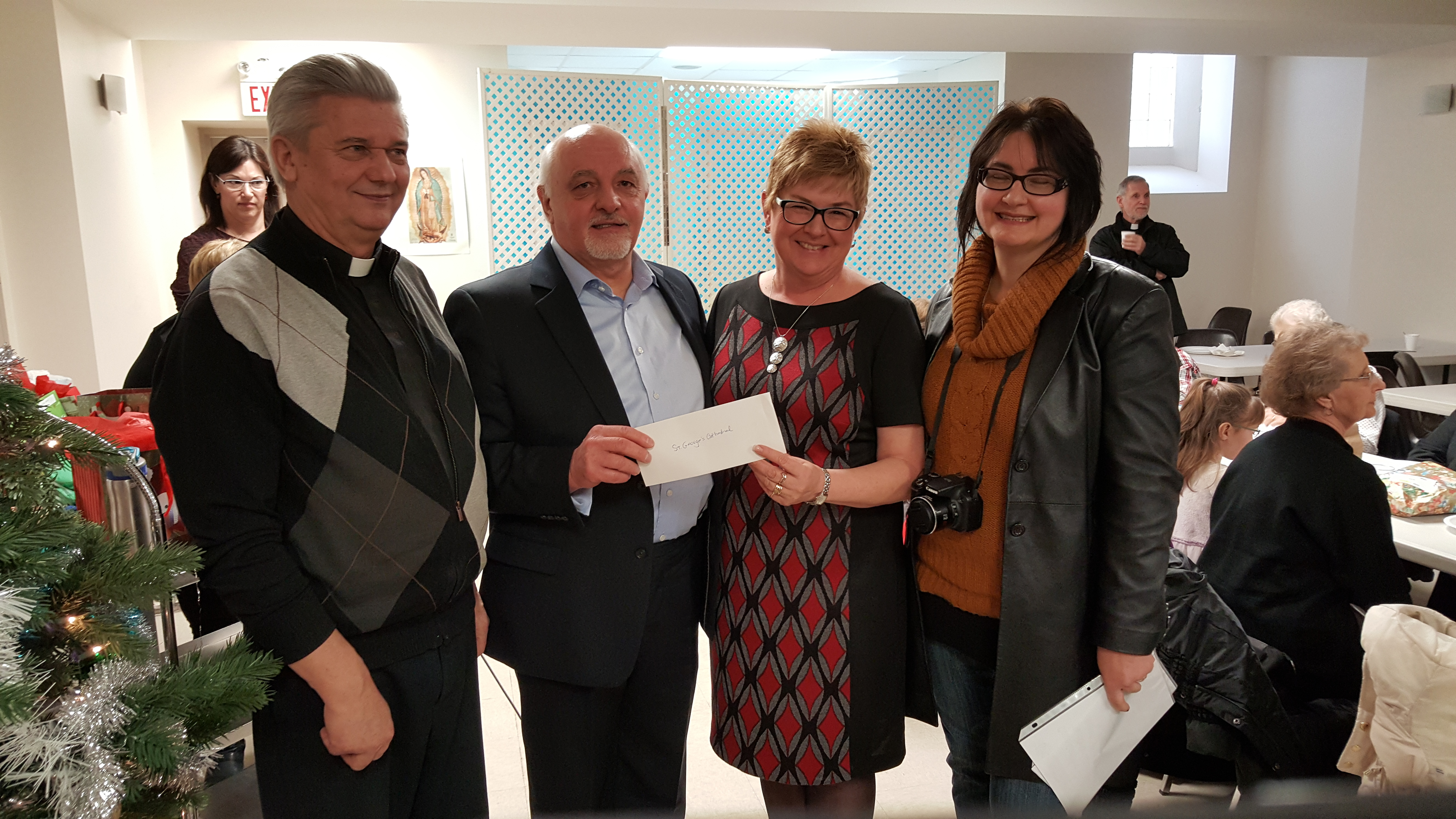 Presentation of 2015 Eparchial Rebate Cheque - St. George's Saskatoon-2015-12-20